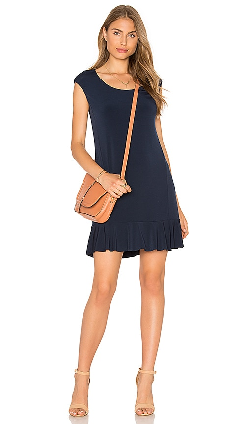 Velvet by Graham & Spencer Quinnell Short Sleeve Bottom Ruffle Mini Dress in Navy