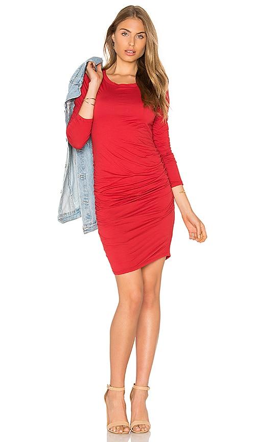 Velvet by Graham & Spencer Yurel Long Sleeve Crew Neck Mini Dress in Red