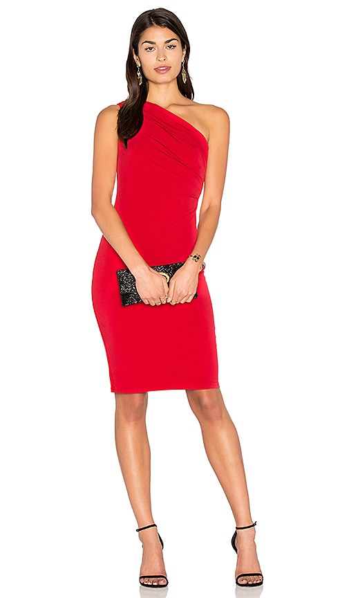 Velvet by Graham & Spencer Elly One Shoulder Midi Dress in Red