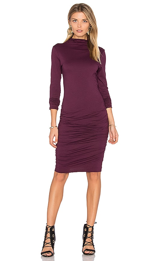 Velvet by Graham & Spencer Pietro Turtleneck Midi Dress in Wine