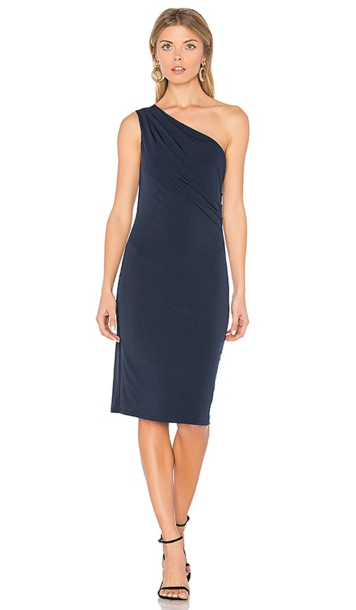 Velvet by Graham & Spencer Elly One Shoulder Dress in Navy