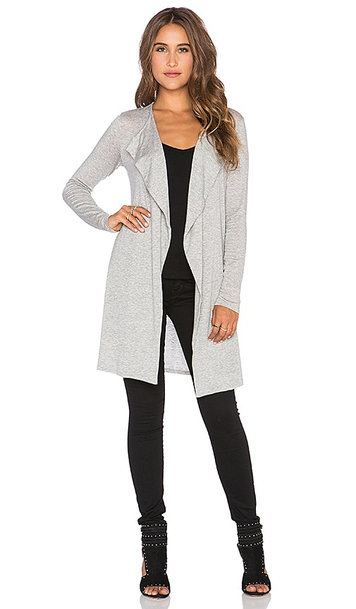Velvet by Graham & Spencer Heavenly Lux Gauze Drape Cardigan in Heather Grey