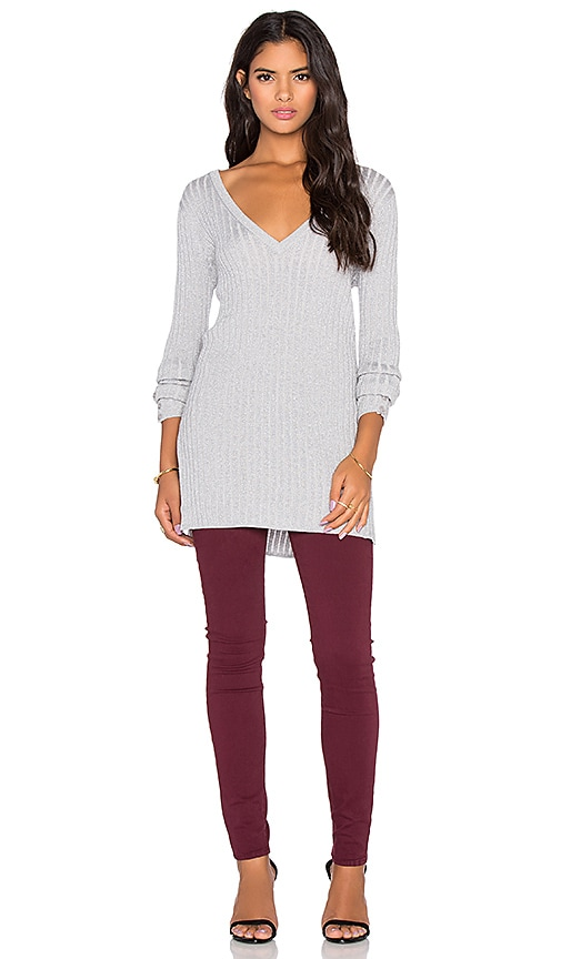 Couture Lurex Cashmere Blend Rib V-Neck Sweater