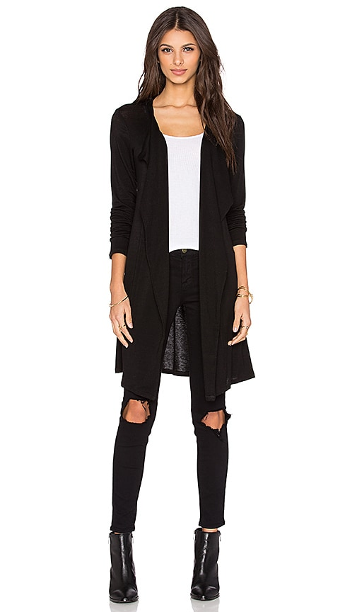 Velvet by Graham & Spencer Heavenly Lux Gauze Drape Cardigan in Black