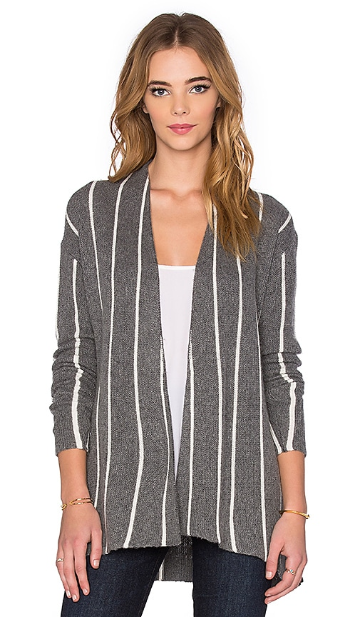 Velvet by Graham & Spencer Destiny Graphic Stripe Long Sleeve Cardigan in Gray