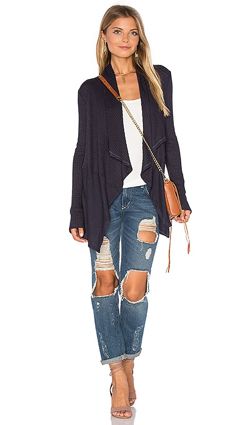 Velvet by Graham & Spencer Bertha Draped Front Cardigan in Navy