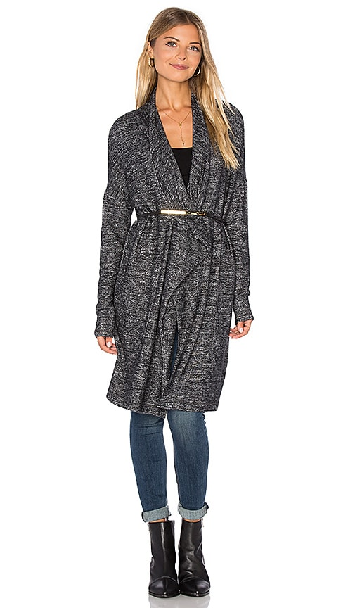 Velvet by Graham & Spencer Dejavu Long Sleeve Front Draped Cardigan in Charcoal