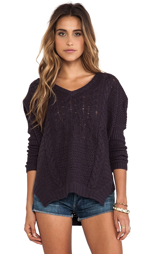 Nadya Patchwork Cable Loose V-Neck Sweater