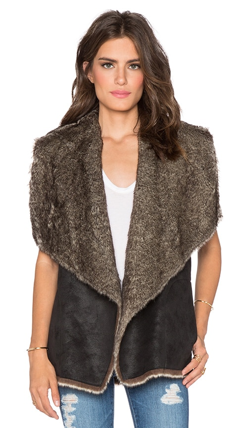 Velvet by Graham & Spencer Cambell Faux Wolf Vest in Black