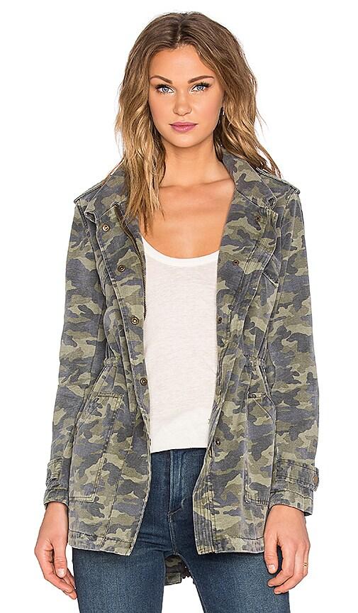 Velvet by Graham & Spencer Darla Army Long Sleeve Tied Waist Front Zipper Jacket in Camo
