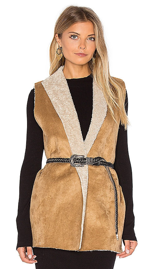 Velvet by Graham & Spencer Royce Vest with Faux Fur Lining in Beige