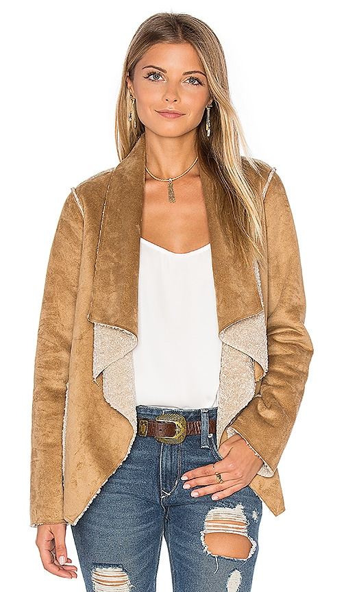 Velvet by Graham & Spencer Zariah Drape Front Faux Fur Jacket in Beige