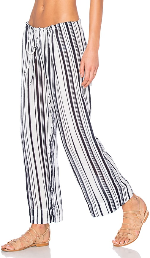 Velvet by Graham & Spencer Omarina Vertical Stripe Pant in White