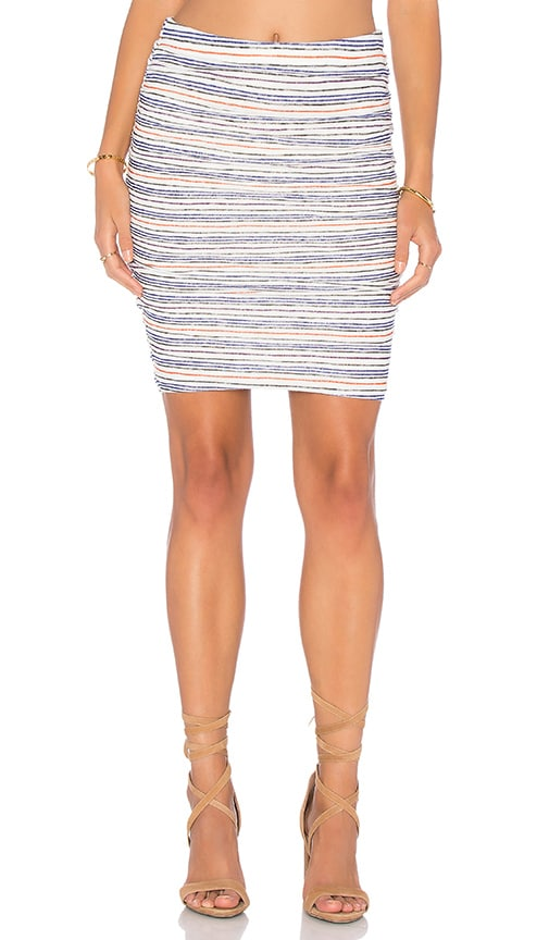 Velvet by Graham & Spencer Kipp Stripe Texture Knit Pencil Skirt in White
