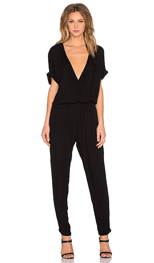 Chandelle Damask Rayon Short Sleeve Cross Front Jumpsuit
