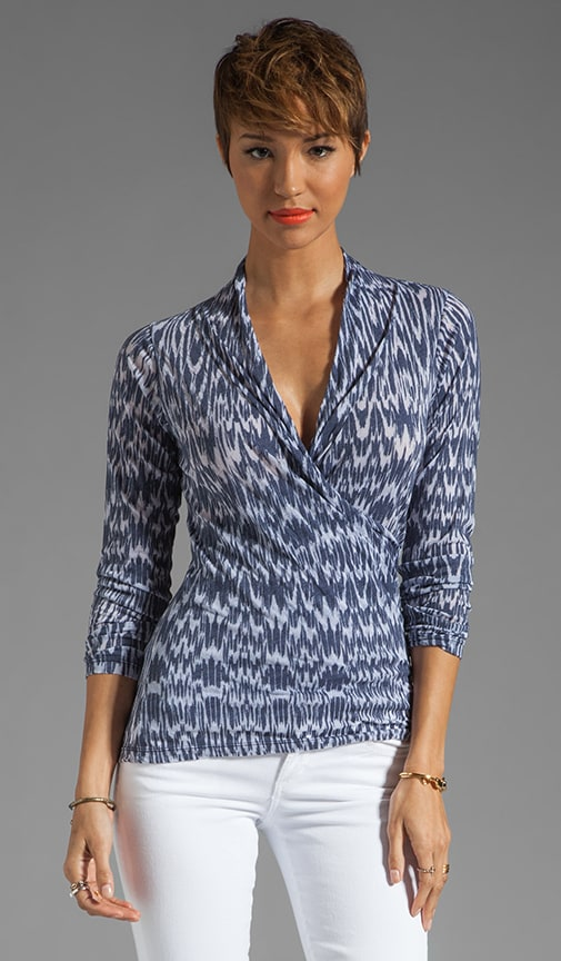 Ikat Burnout Cadmus Faux Wrap Top