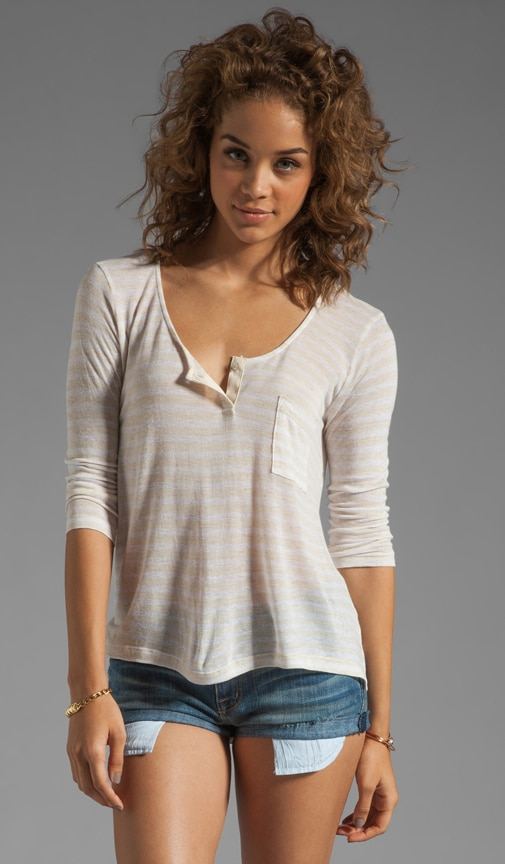 Athena Oatmeal Stripe Henley Top