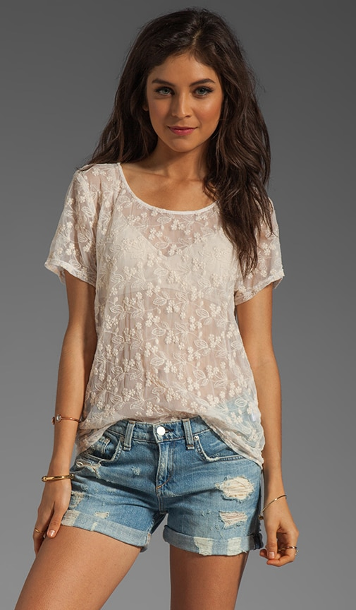 Haley Embroidered Mesh Top