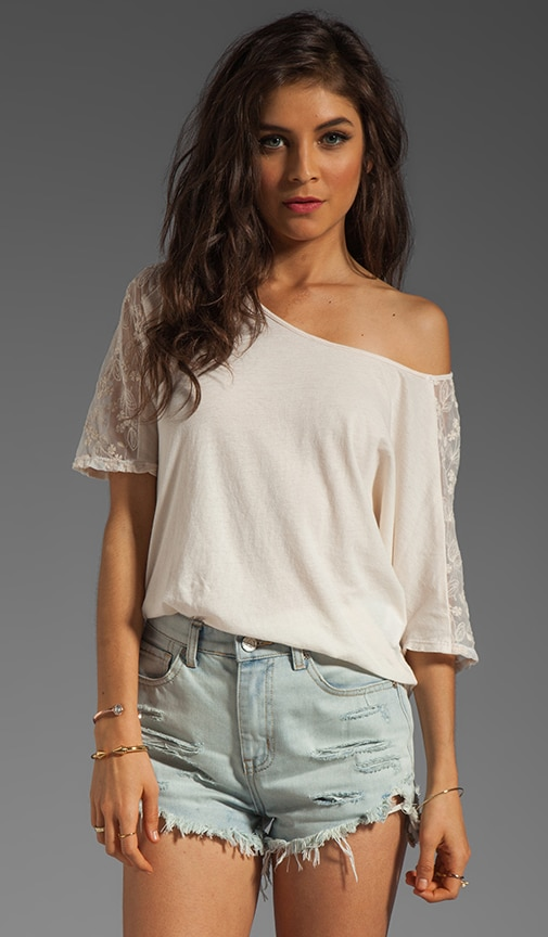 Keesha Embroidered Mesh Shoulder Top