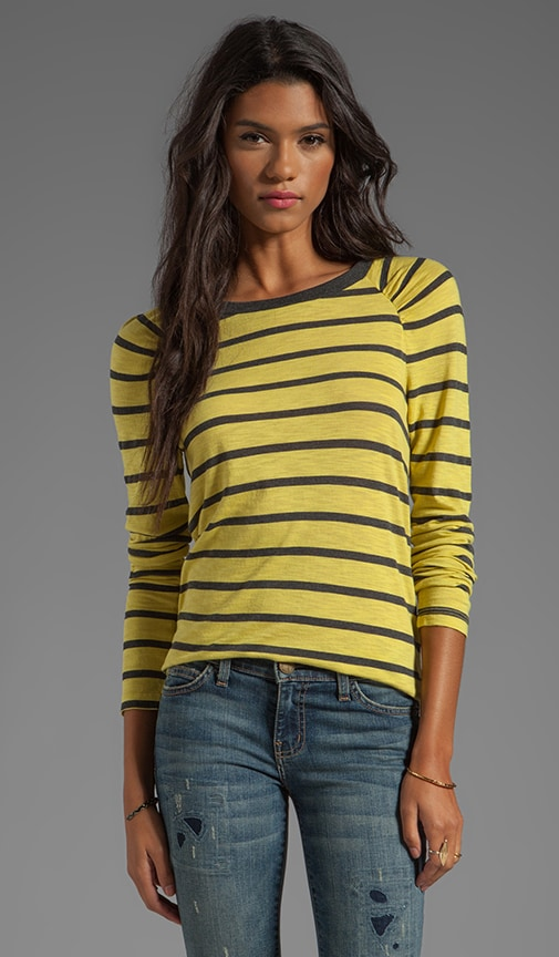 Verna Charcoal Slub Stripe Long Sleeve