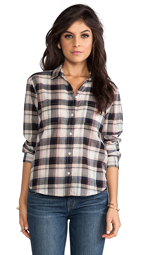Lily Aldridge for Velvet Rita Plaid Top