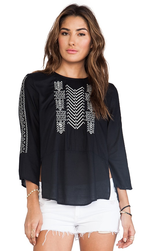 Albany Embroidered Rayon Challis Top