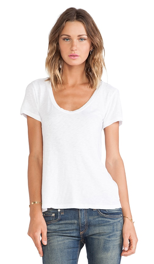 Velvet by Graham & Spencer Bay Cotton Slub Tee in White
