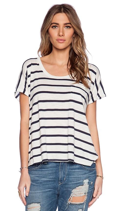 Modal / Cotton Stripe Knit Tiki Tee