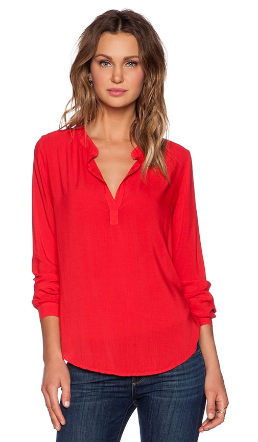 a74ea0a3 Velvet by Graham & Spencer Rayon Challis Rosie Top in Sportred | REVOLVE