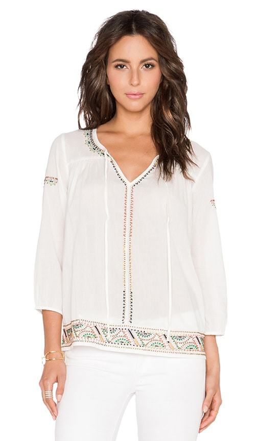 Velvet by Graham & Spencer Dalene Embroidered Top in Off White