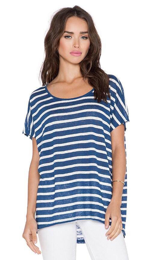 Velvet by Graham & Spencer Honor Linen Stripe Top in Blue
