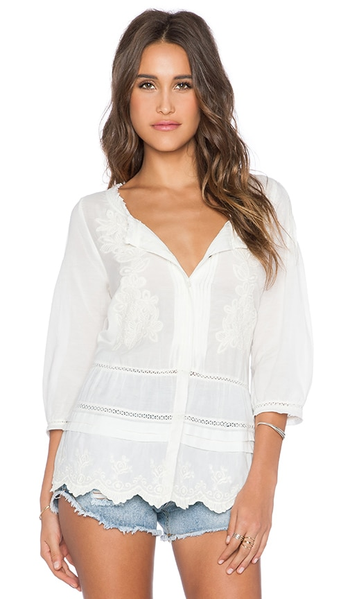 Velvet by Graham & Spencer Zumera Sofia Embroidered Voile Blouse in Cream