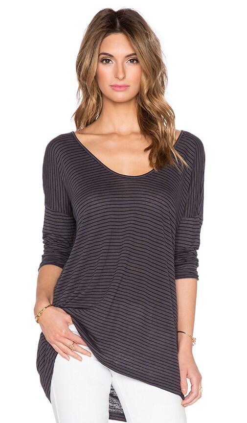 Velvet by Graham & Spencer Alala Linen Rayon Stripe Knit Top in Grey