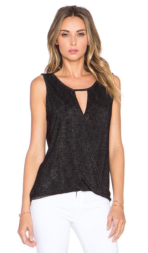 Velvet by Graham & Spencer Ivie Sheer Texture Knit Tank in Black