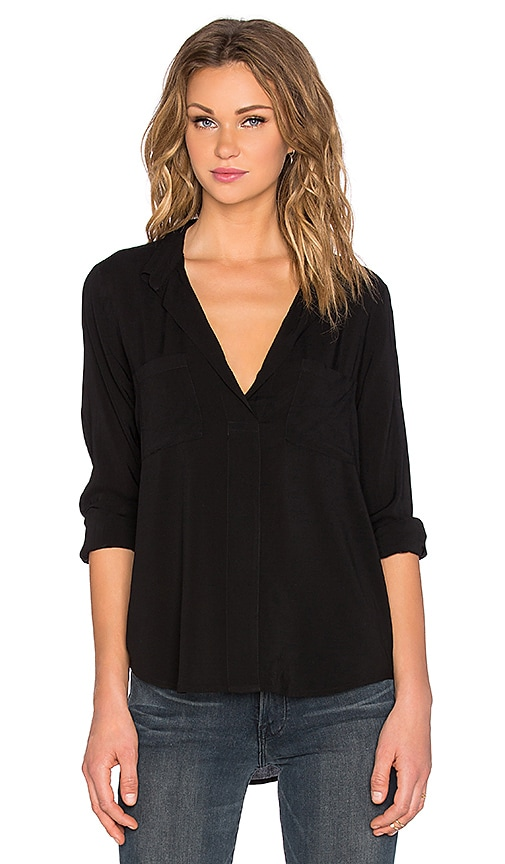Velvet by Graham & Spencer Davincia Rayon Challis Collared Long Sleeve Top in Black