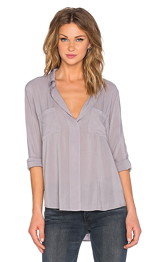Velvet by Graham & Spencer Davincia Rayon Challis Collared Long Sleeve Top in Gray