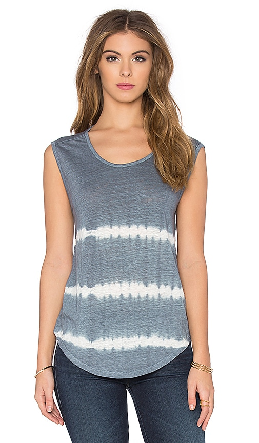 Alena Tie Dye Stripe Linen Jersey Sleeveless Top