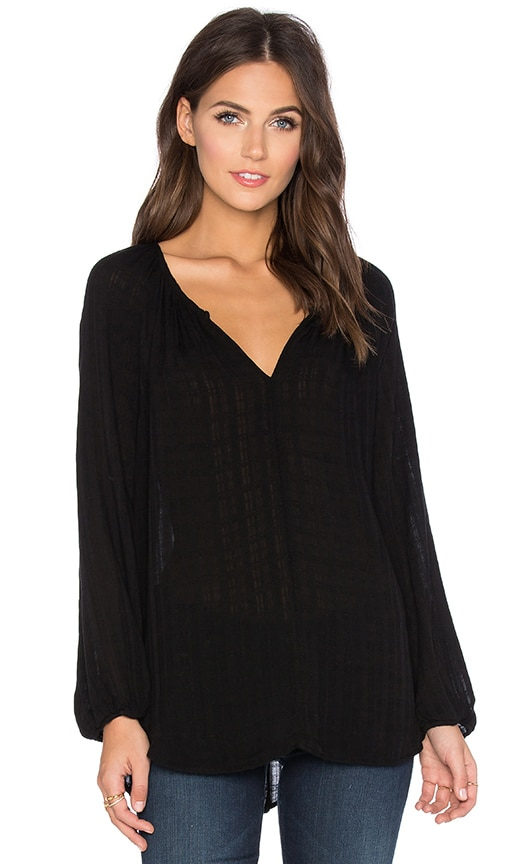 Velvet by Graham & Spencer Alize Windowpane Challis with Slub V-Neck Long Sleeve Top in Black