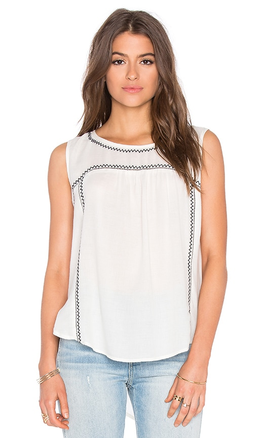 Asera Embroidered Crepe Sleeveless Top