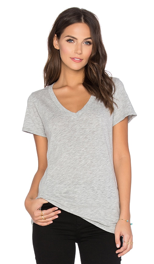 Velvet by Graham & Spencer Lilith Cotton Slub V-Neck Tee in Heather Grey
