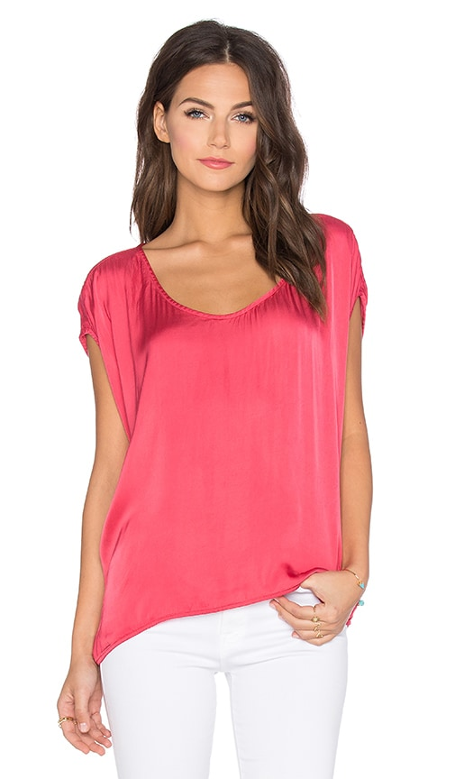 Velvet by Graham & Spencer Melinda Satin Viscose Top in Coral