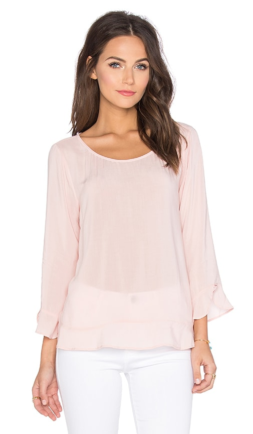Velvet by Graham & Spencer Mira Rayon Challis Long Sleeve Top in Pale Pink
