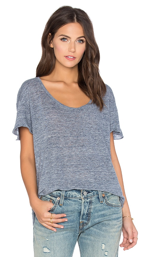 Velvet by Graham & Spencer Nichel Linen Scoop Neck Tee in Blue