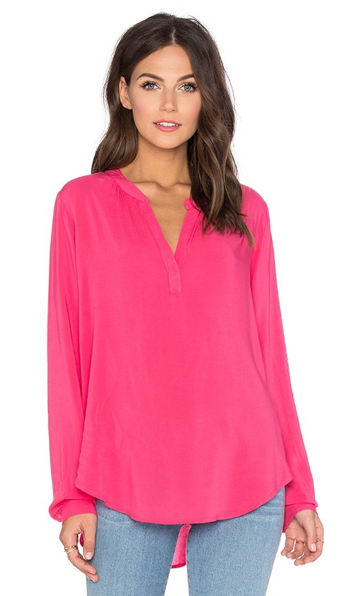 Velvet by Graham & Spencer Rosie Rayon Challis Long Sleeve Top in Pink