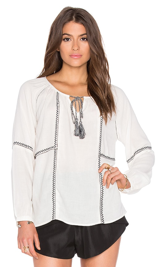 Velvet by Graham & Spencer Shavanni Embroidered Crepe Long Sleeve Top in Ivory