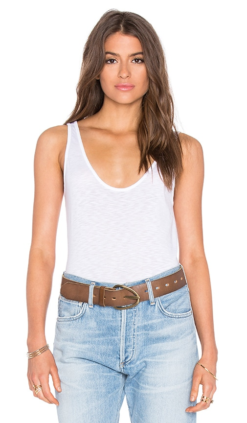 Velvet by Graham & Spencer Tila Lux Slub Scoop Neck Tank in White