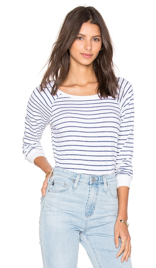 Velvet by Graham & Spencer Lele Stripe Cotton Long Sleeve Top in White