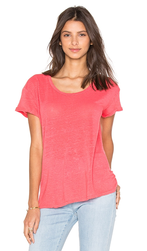 Velvet by Graham & Spencer Nichel Linen Scoop Neck Tee in Coral