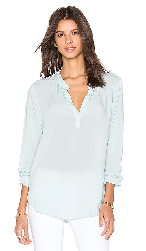 Velvet by Graham & Spencer Rosie Rayon Challis Long Sleeve Top in Mint