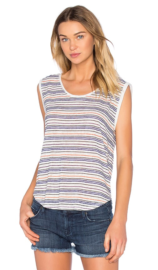 Velvet by Graham & Spencer Devi Stripe Texture Knit Tee in Blue